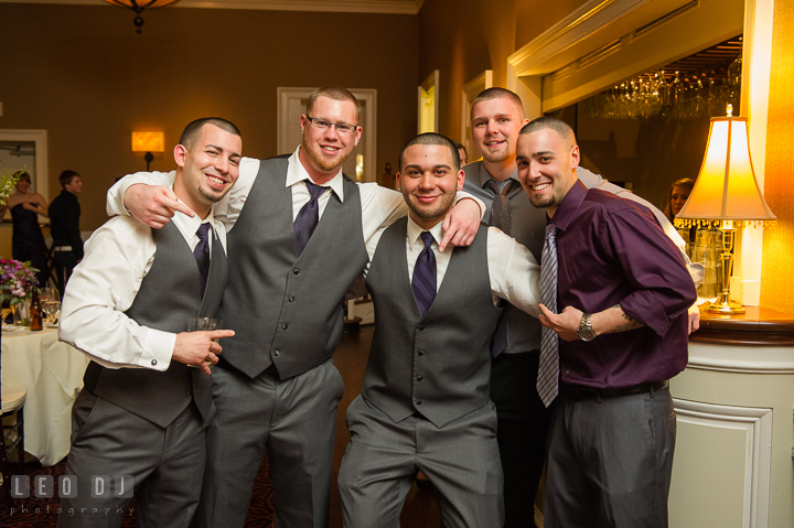 Best Man, Groomsmen, and guests posing. The Tidewater Inn Wedding, Easton Maryland, reception photo coverage by wedding photographers of Leo Dj Photography. http://leodjphoto.com