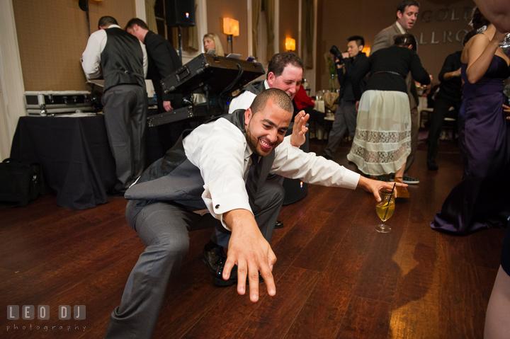 Groomsmen dancing on the floor. The Tidewater Inn Wedding, Easton Maryland, reception photo coverage by wedding photographers of Leo Dj Photography. http://leodjphoto.com