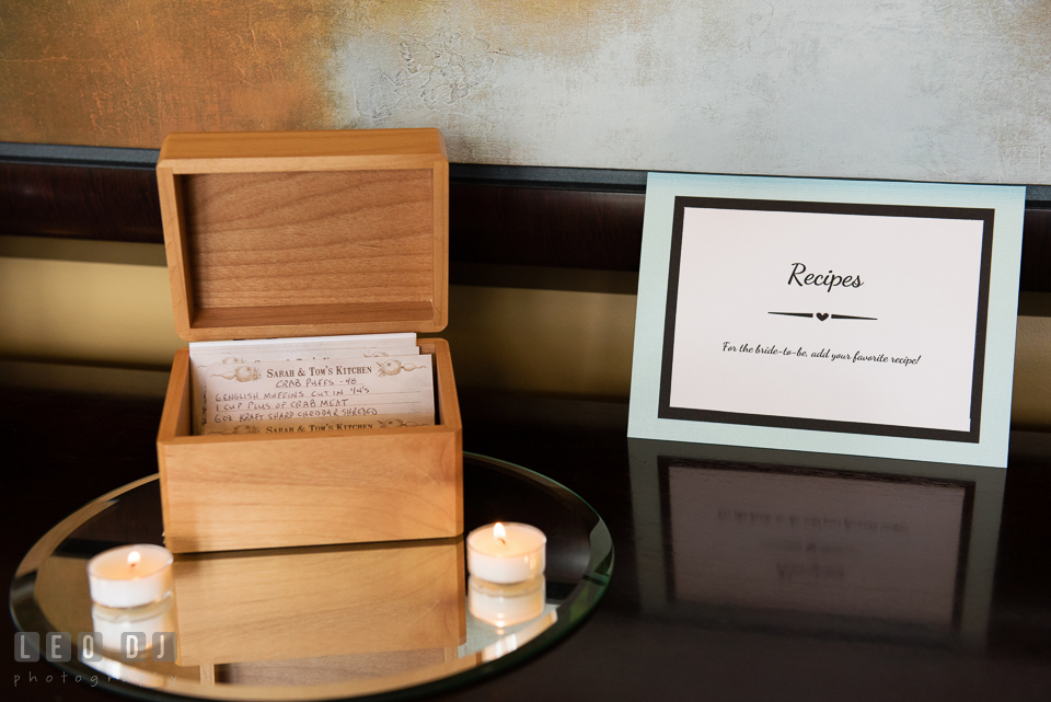 Recipes from guests for the Bride and Groom. Historic Events Annapolis bridal shower decor and event coverage at Annapolis Maryland, by wedding photographers of Leo Dj Photography. http://leodjphoto.com