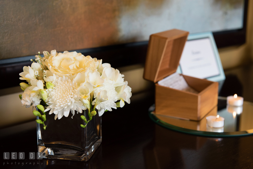 White flower arrangement at the entrance. Historic Events Annapolis bridal shower decor and event coverage at Annapolis Maryland, by wedding photographers of Leo Dj Photography. http://leodjphoto.com