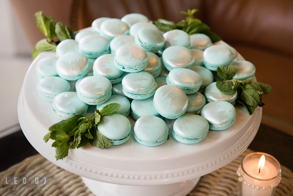 Silver and minty French macarons. Historic Events Annapolis bridal shower decor and event coverage at Annapolis Maryland, by wedding photographers of Leo Dj Photography. http://leodjphoto.com