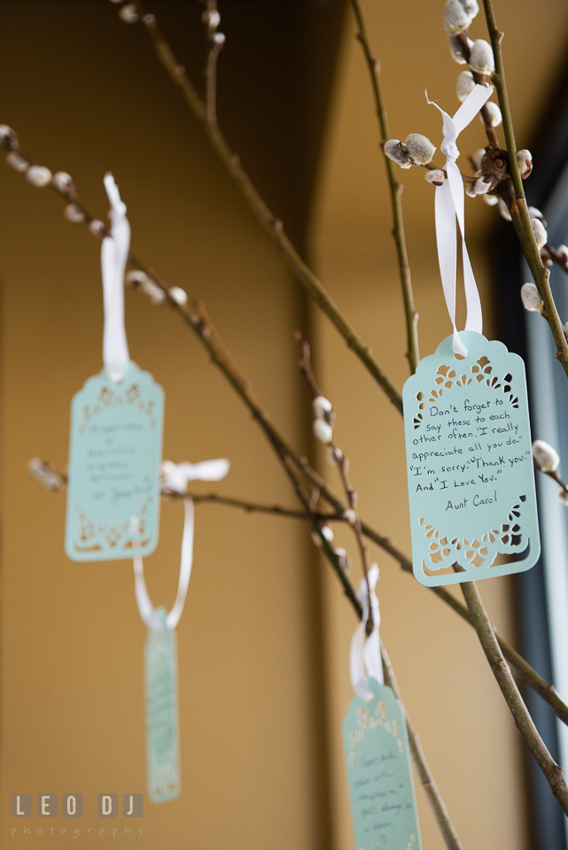 Well wishes from guests on cards hung on tree branches. Historic Events Annapolis bridal shower decor and event coverage at Annapolis Maryland, by wedding photographers of Leo Dj Photography. http://leodjphoto.com