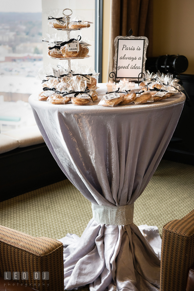 A table of party favor of pastries for the guests. Historic Events Annapolis bridal shower decor and event coverage at Annapolis Maryland, by wedding photographers of Leo Dj Photography. http://leodjphoto.com