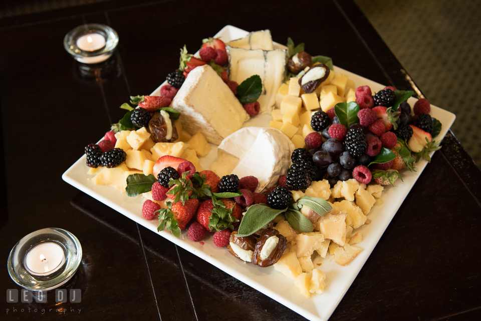 A plate of fruit berries and cheeses. Historic Events Annapolis bridal shower decor and event coverage at Annapolis Maryland, by wedding photographers of Leo Dj Photography. http://leodjphoto.com