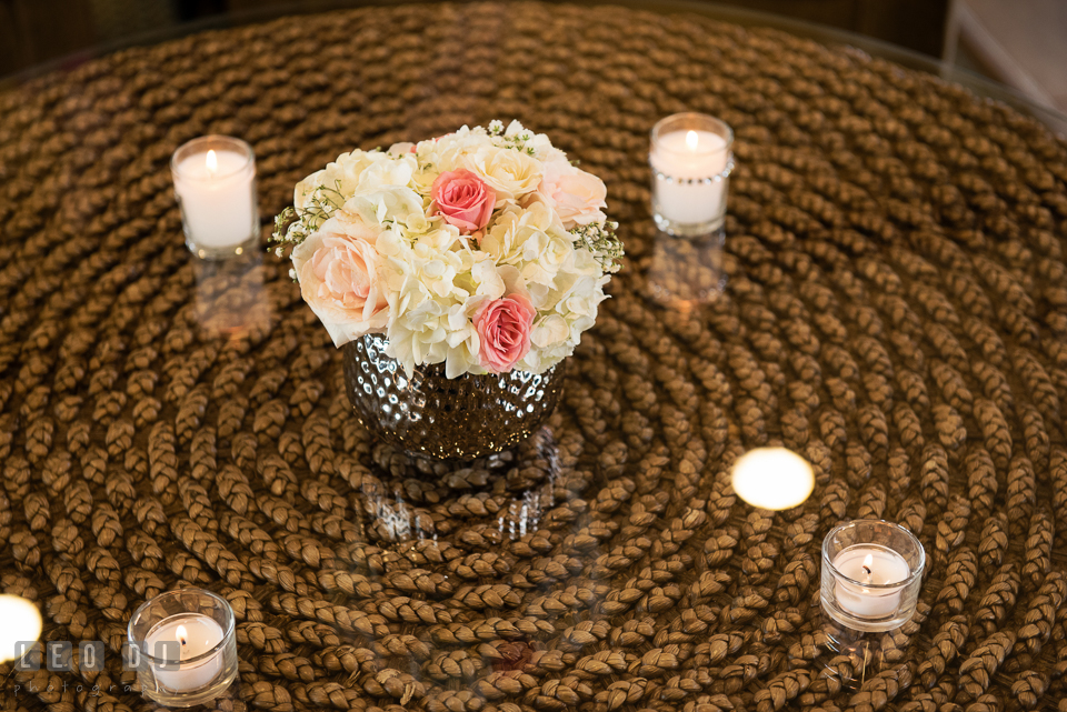 A vase of hydrangea with white and pink roses. Historic Events Annapolis bridal shower decor and event coverage at Annapolis Maryland, by wedding photographers of Leo Dj Photography. http://leodjphoto.com