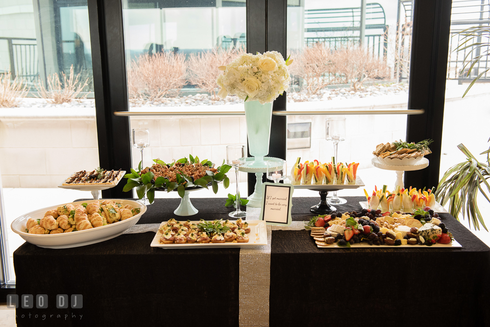 Vast selections of delicious hors d'oeuvres from Strawberry Banke Events catering. Historic Events Annapolis bridal shower decor and event coverage at Annapolis Maryland, by wedding photographers of Leo Dj Photography. http://leodjphoto.com