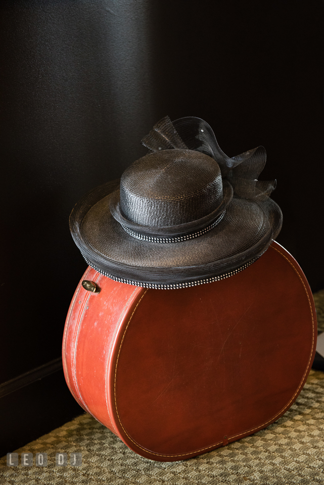 Vintage hat and hat case. Historic Events Annapolis bridal shower decor and event coverage at Annapolis Maryland, by wedding photographers of Leo Dj Photography. http://leodjphoto.com