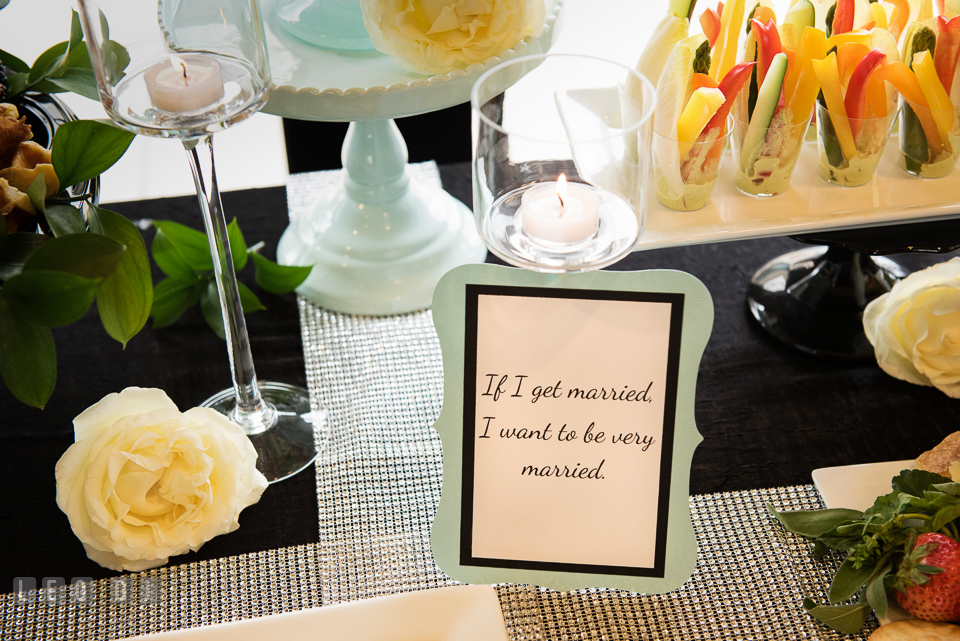 Wish card decor on the hors d'oeuvres table. Historic Events Annapolis bridal shower decor and event coverage at Annapolis Maryland, by wedding photographers of Leo Dj Photography. http://leodjphoto.com