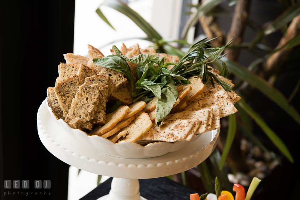 Selection of crackers and breads. Historic Events Annapolis bridal shower decor and event coverage at Annapolis Maryland, by wedding photographers of Leo Dj Photography. http://leodjphoto.com
