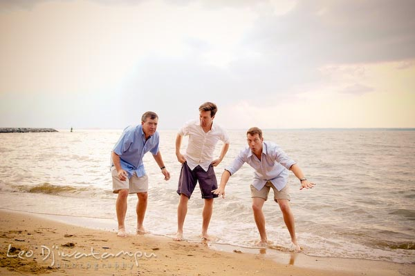 Father and two sons getting ready to jump. Kent Island Annapolis Candid Family Portrait Photo Session Photography Eastern Shore Maryland MD DC