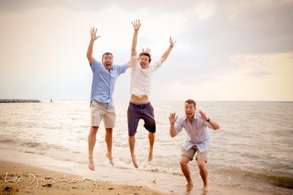 Father and two sons jumping at Chesapeake Bay Beach. Kent Island Annapolis Candid Family Portrait Photo Session Photography Eastern Shore Maryland MD DC