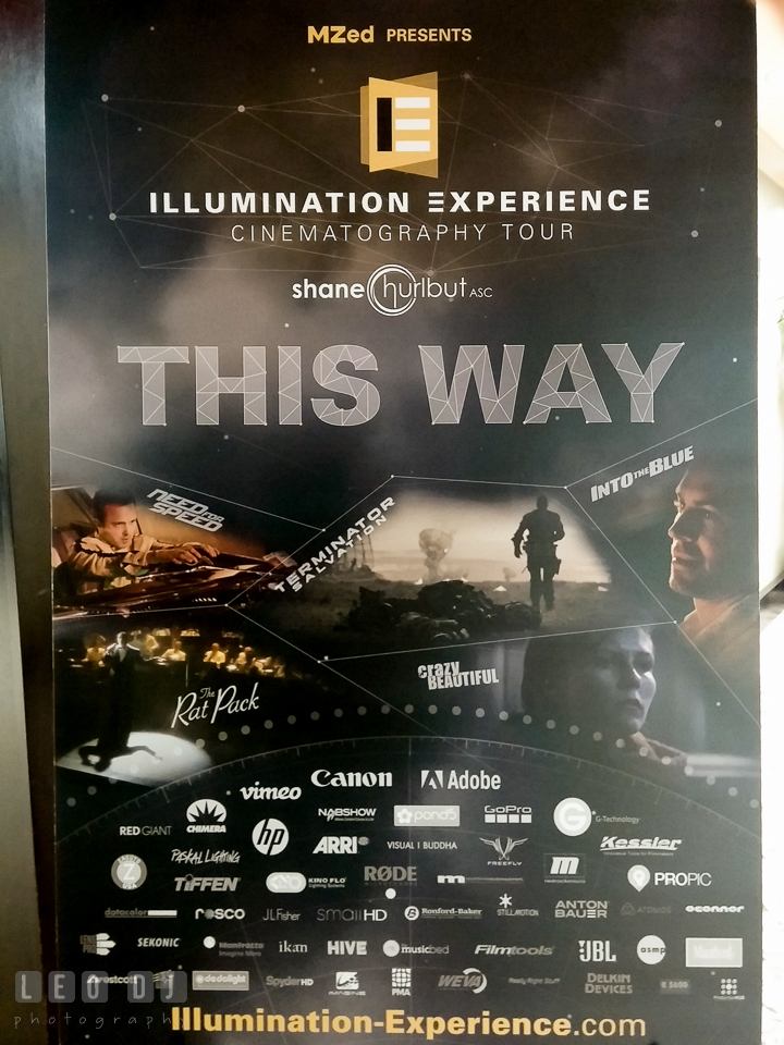 Welcome banner for the workshop. Review of MZed Illumination Experience, film making and cinematography Workshop with Hollywood Cinematographer Shane Hurlbut by wedding photographer Leo Dj Photography. http://leodjphoto.com