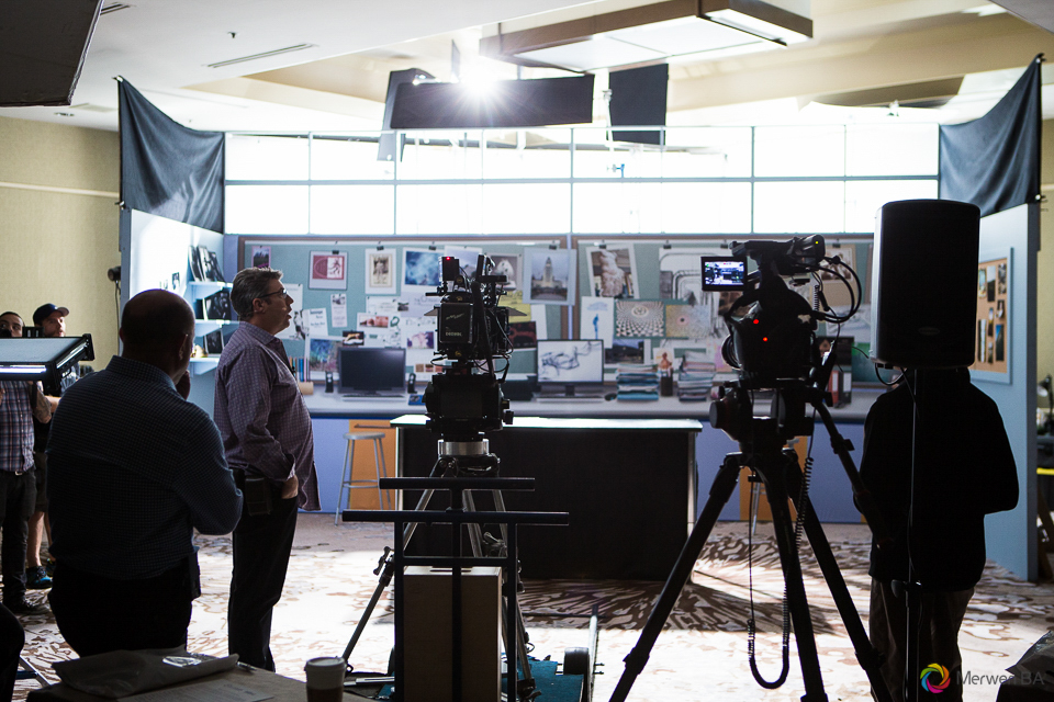 Broad view of the Crazy Beautiful movie setup of the school lab during daytime. Review of MZed Illumination Experience, film making and cinematography Workshop with Hollywood Cinematographer Shane Hurlbut by wedding photographer Leo Dj Photography. http://leodjphoto.com