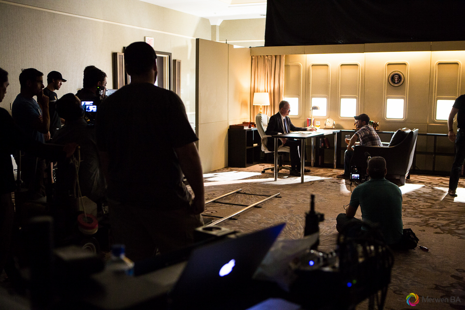 Crews preparing the daytime scene in the Air Force One interior set from the Swing Vote movie. Review of MZed Illumination Experience, film making and cinematography Workshop with Hollywood Cinematographer Shane Hurlbut by wedding photographer Leo Dj Photography. http://leodjphoto.com