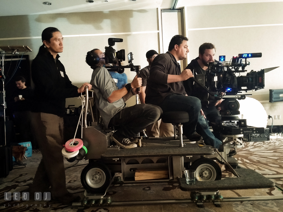 Rolling the dolly on a track for the camera operators. Review of MZed Illumination Experience, film making and cinematography Workshop with Hollywood Cinematographer Shane Hurlbut by wedding photographer Leo Dj Photography. http://leodjphoto.com