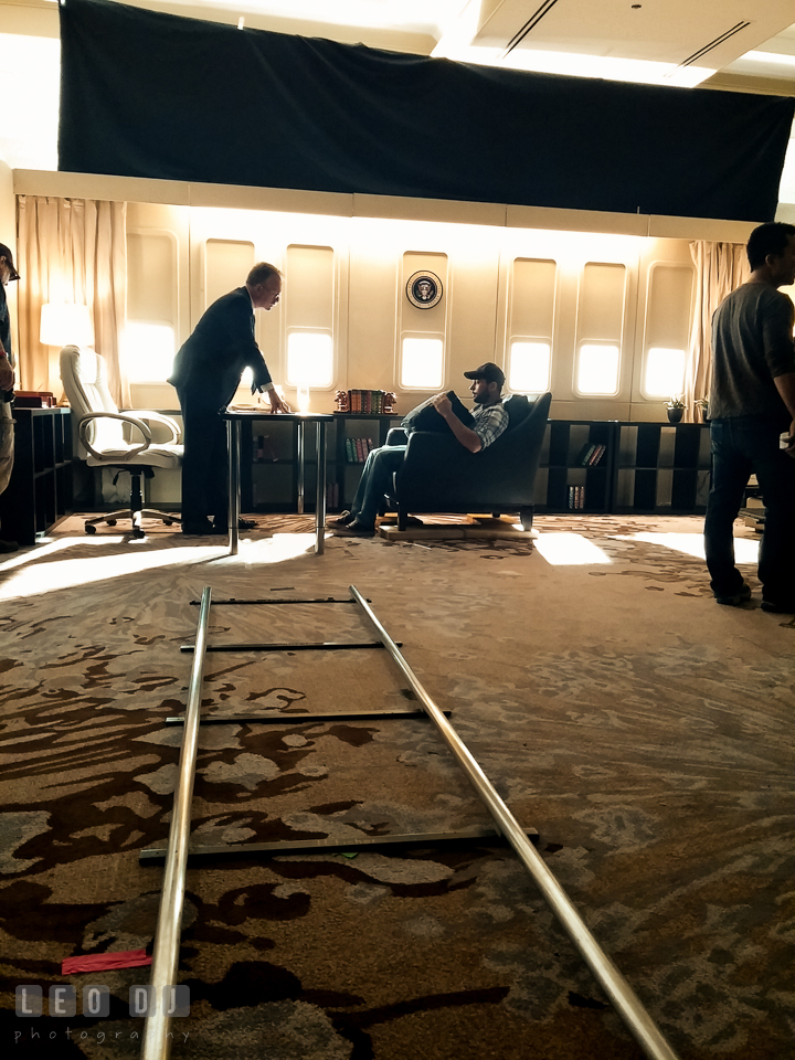 Low angle view of the dolly track toward the scene in the Air Force One interior from the Swing Vote movie. Review of MZed Illumination Experience, film making and cinematography Workshop with Hollywood Cinematographer Shane Hurlbut by wedding photographer Leo Dj Photography. http://leodjphoto.com