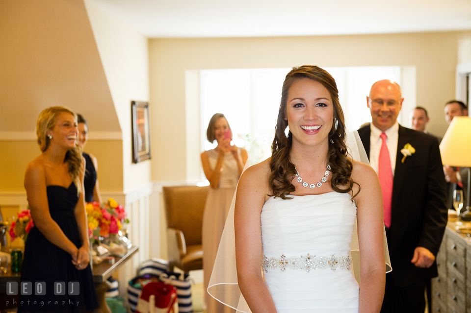 Bride shedding tears while waiting for first look with Father. Kent Island Maryland Chesapeake Bay Beach Club wedding photo, by wedding photographers of Leo Dj Photography. http://leodjphoto.com