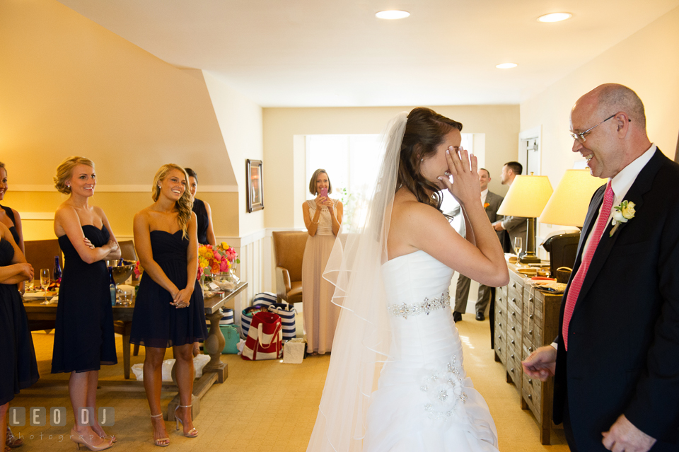 Father of the Bride seeing his daughter for the first time in her wedding dress. Kent Island Maryland Chesapeake Bay Beach Club wedding photo, by wedding photographers of Leo Dj Photography. http://leodjphoto.com