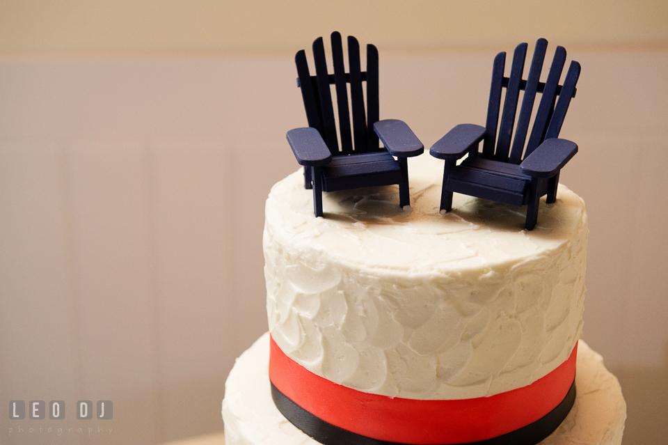 Adirondack chairs cake topper on beach and nautical themed wedding cake by Fiona's Cakes. Kent Island Maryland Chesapeake Bay Beach Club wedding photo, by wedding photographers of Leo Dj Photography. http://leodjphoto.com