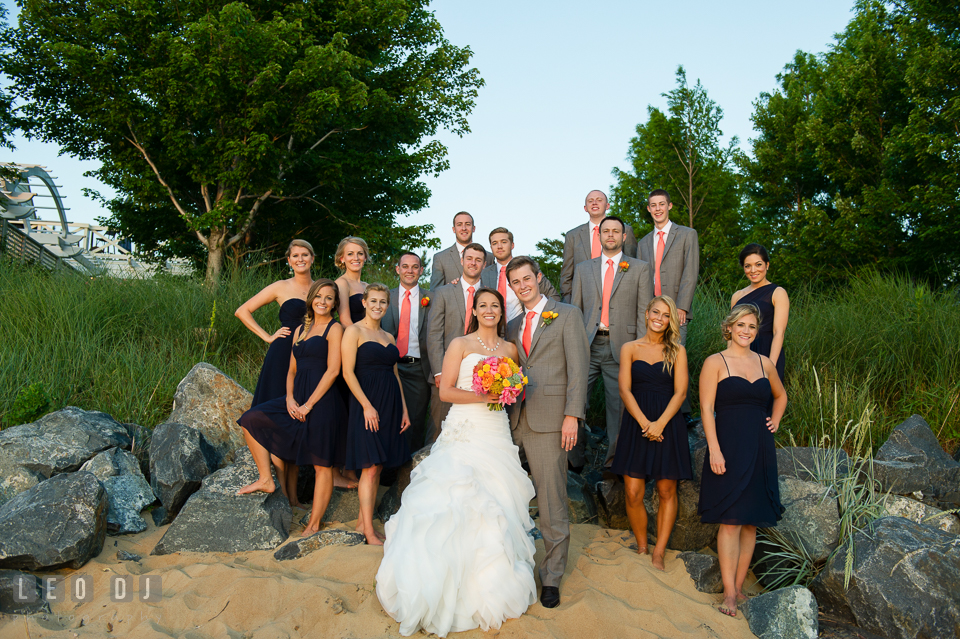 Bride and Groom with their wedding party including the Best Man, Matron of Honor, Bridesmaids and Groomsmen. Kent Island Maryland Chesapeake Bay Beach Club wedding photo, by wedding photographers of Leo Dj Photography. http://leodjphoto.com