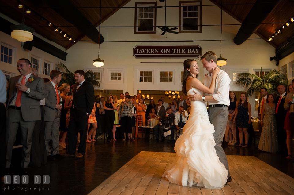 Bride and Groom performing their first dance. Kent Island Maryland Chesapeake Bay Beach Club wedding photo, by wedding photographers of Leo Dj Photography. http://leodjphoto.com