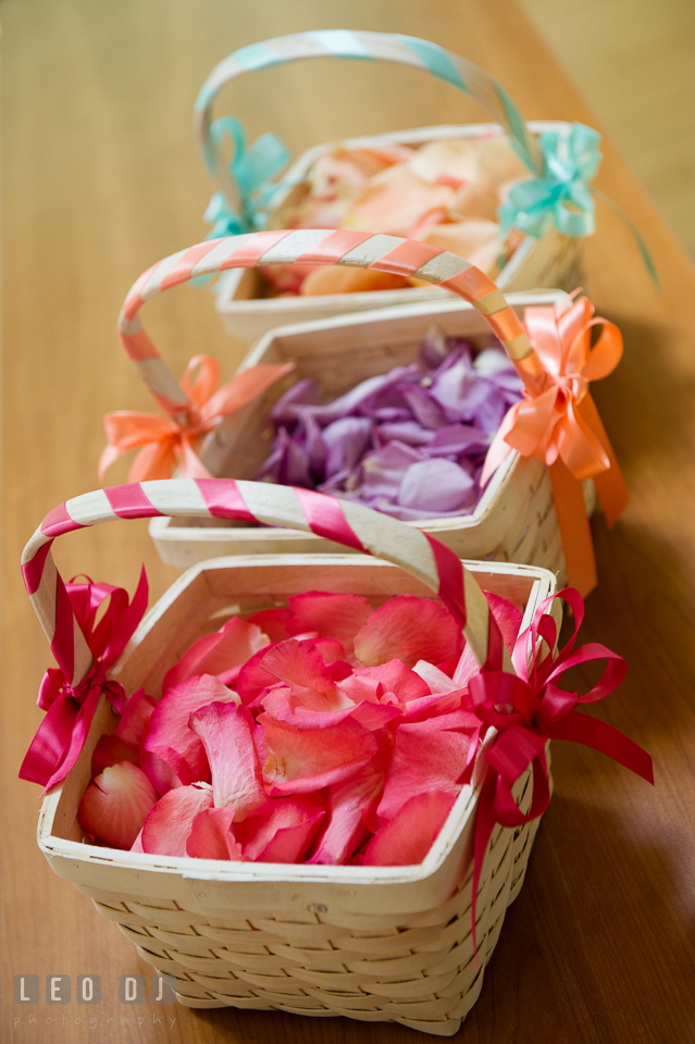 Pink, violet, and salmon rose petals for the flower girls. Chesapeake Bay Environmental Center, Eastern Shore Maryland, wedding reception and ceremony photo, by wedding photographers of Leo Dj Photography. http://leodjphoto.com