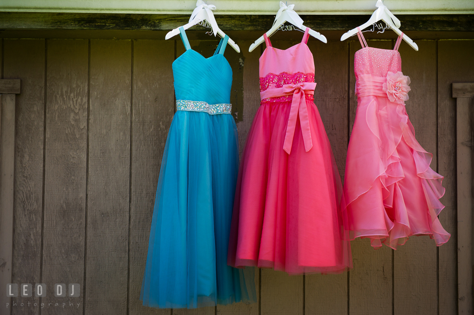 Flower girl dresses with different colors. Chesapeake Bay Environmental Center, Eastern Shore Maryland, wedding reception and ceremony photo, by wedding photographers of Leo Dj Photography. http://leodjphoto.com