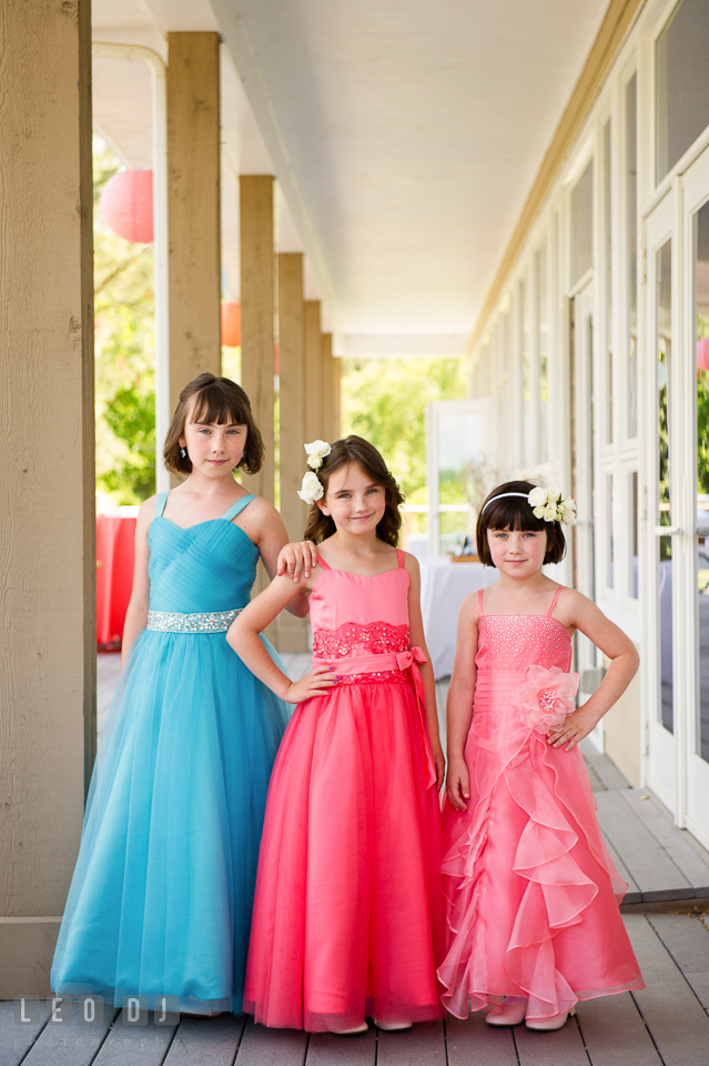 Pretty flower girls posing together before ceremony. Chesapeake Bay Environmental Center, Eastern Shore Maryland, wedding reception and ceremony photo, by wedding photographers of Leo Dj Photography. http://leodjphoto.com