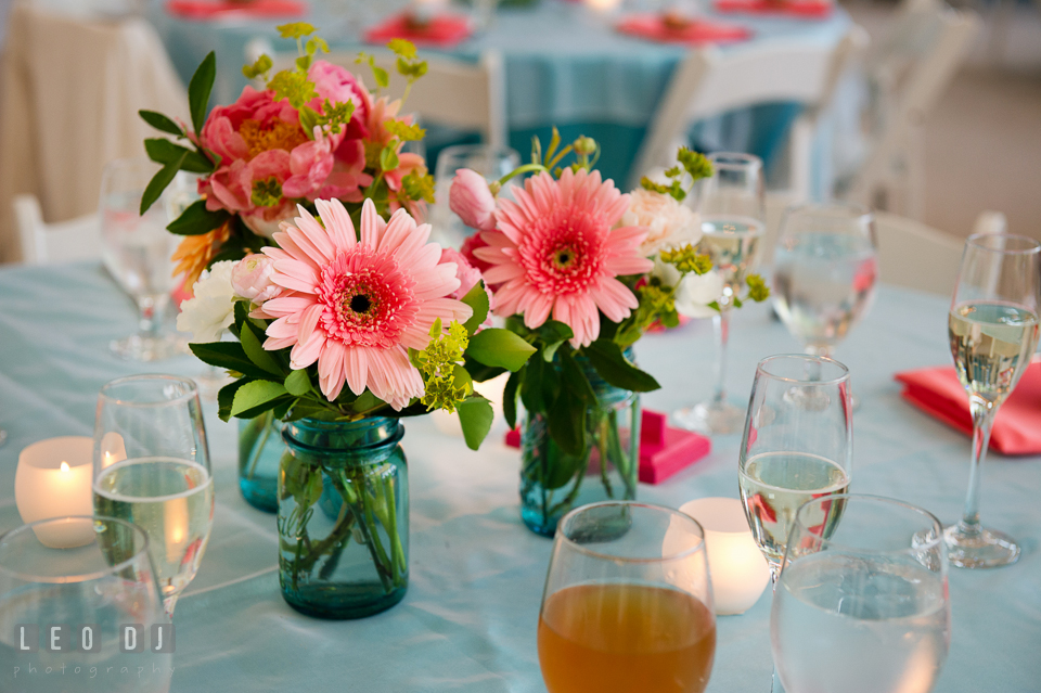 Peonies and gerberas seen all around as ravishing table centerpieces. Chesapeake Bay Environmental Center, Eastern Shore Maryland, wedding reception and ceremony photo, by wedding photographers of Leo Dj Photography. http://leodjphoto.com
