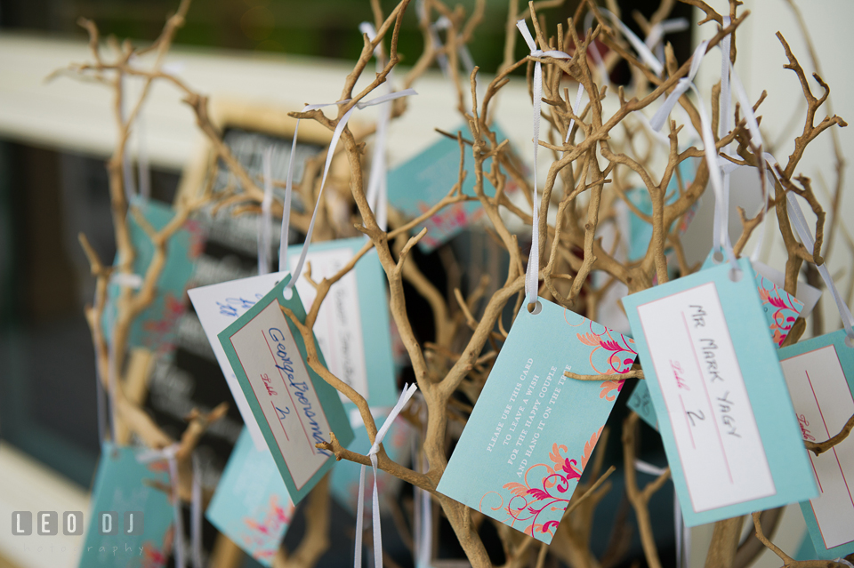 Unique place cards tagged to twigs at the wedding reception venue. Chesapeake Bay Environmental Center, Eastern Shore Maryland, wedding reception and ceremony photo, by wedding photographers of Leo Dj Photography. http://leodjphoto.com