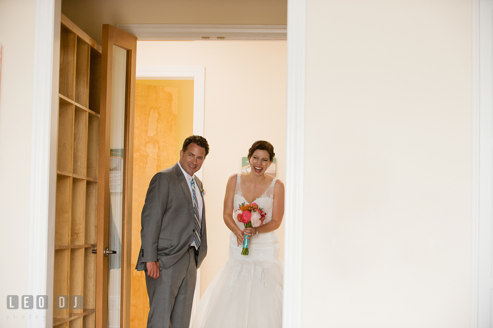 The Bride and Groom, moments before they stepped into the reception venue. Chesapeake Bay Environmental Center, Eastern Shore Maryland, wedding reception and ceremony photo, by wedding photographers of Leo Dj Photography. http://leodjphoto.com
