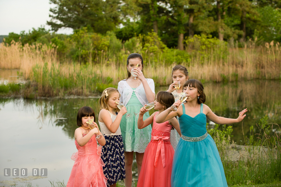 Cheers from the flower girls to the Bride and Groom. Chesapeake Bay Environmental Center, Eastern Shore Maryland, wedding reception and ceremony photo, by wedding photographers of Leo Dj Photography. http://leodjphoto.com