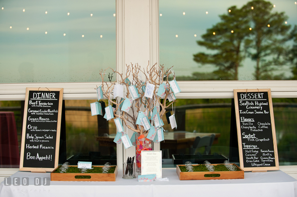 Place cards for guests to sign along with dinner and dessert menu. Chesapeake Bay Environmental Center, Eastern Shore Maryland, wedding reception and ceremony photo, by wedding photographers of Leo Dj Photography. http://leodjphoto.com