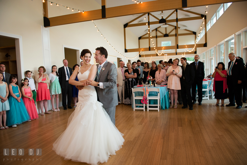 The Bride and Groom's first dance while the guests shed happy tears. Chesapeake Bay Environmental Center, Eastern Shore Maryland, wedding reception and ceremony photo, by wedding photographers of Leo Dj Photography. http://leodjphoto.com