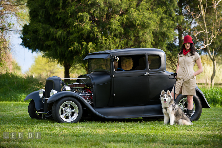 Girl and her dog posing by an old Ford model car. Model portrait session with Brittany from Beyond the Veil music Band and her Siberian Husky pet dog at Kent Island, Maryland Eastern Shore by photographer Leo Dj Photography.
