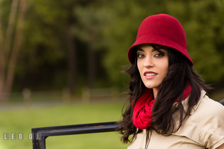Head portrait of girl wearing red hat and red scarf. Model portrait session with Brittany from Beyond the Veil music Band and her Siberian Husky pet dog at Kent Island, Maryland Eastern Shore by photographer Leo Dj Photography.