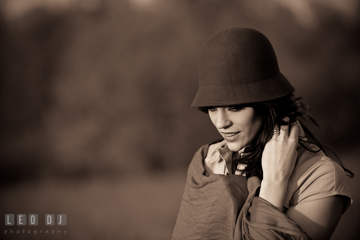 Black and white vintage style photo of girl with hat and scarf. Model portrait session with Brittany from Beyond the Veil music Band and her Siberian Husky pet dog at Kent Island, Maryland Eastern Shore by photographer Leo Dj Photography.