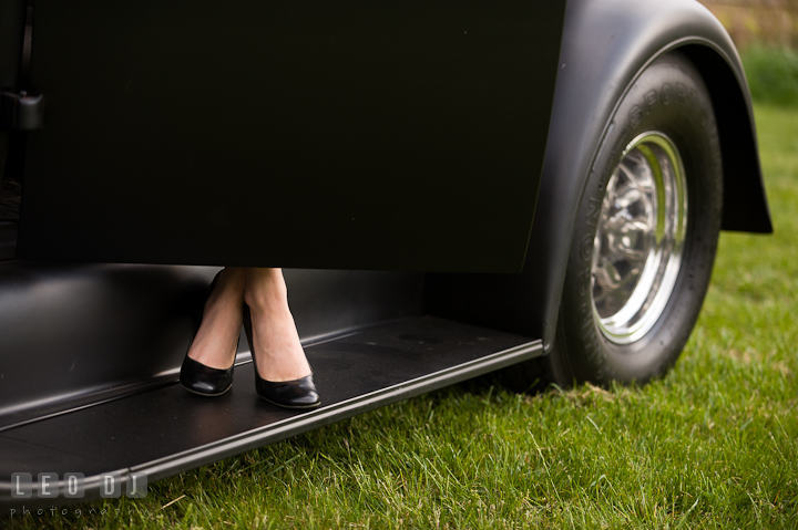 Girl's feet seen stepping out of an antique Ford car. Eastern Shore, Maryland, Kent Island High School senior portrait session by photographer Leo Dj Photography. http://leodjphoto.com