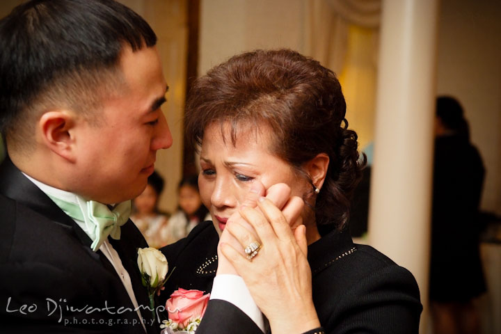 Ceresville Mansion Frederick Maryland Mother Of Groom Crying While Doing And Son Dance Wiping Tears From