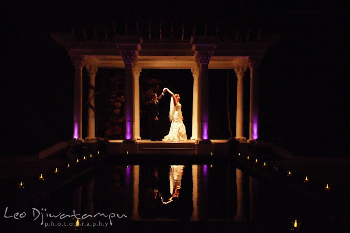 Bride and groom dancing by the pool with candle lights. Ceresville Mansion Frederick Maryland Wedding Photo by wedding photographer Leo Dj Photography
