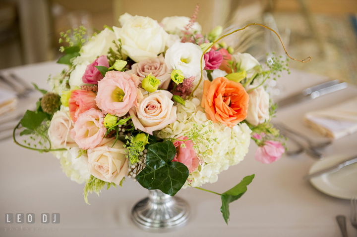 Flower table centerpiece with pastel roses, art deco Gatsby style by Mobtown Florals. Aspen Wye River Conference Centers wedding at Queenstown Maryland, by wedding photographers of Leo Dj Photography. http://leodjphoto.com