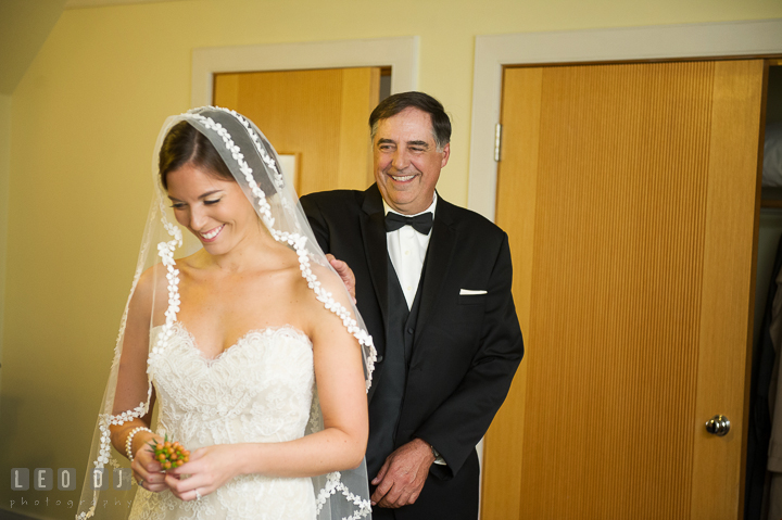 Father of Bride tapping daughter's shoulder. Aspen Wye River Conference Centers wedding at Queenstown Maryland, by wedding photographers of Leo Dj Photography. http://leodjphoto.com