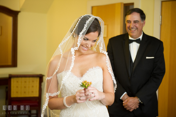 Bride coyfully turning around to see Father. Aspen Wye River Conference Centers wedding at Queenstown Maryland, by wedding photographers of Leo Dj Photography. http://leodjphoto.com