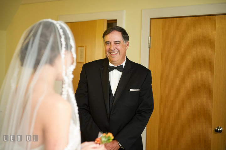 Father of Bride seeing daughter in wedding dress for the first time. Aspen Wye River Conference Centers wedding at Queenstown Maryland, by wedding photographers of Leo Dj Photography. http://leodjphoto.com