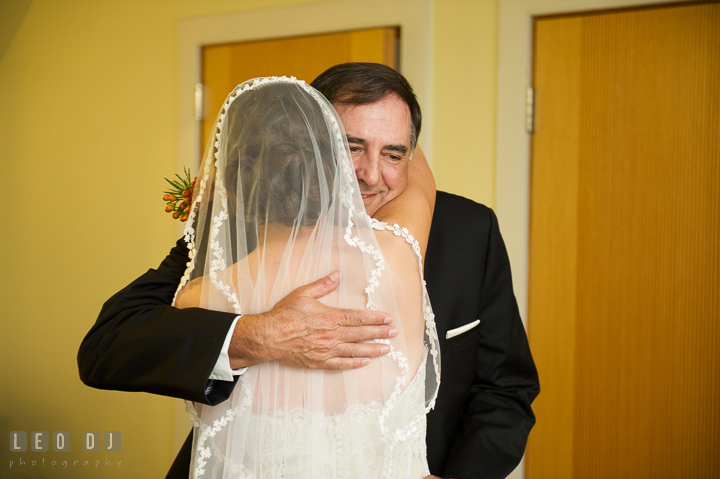 Father of Bride hugging daughter before walking down the aisle. Aspen Wye River Conference Centers wedding at Queenstown Maryland, by wedding photographers of Leo Dj Photography. http://leodjphoto.com