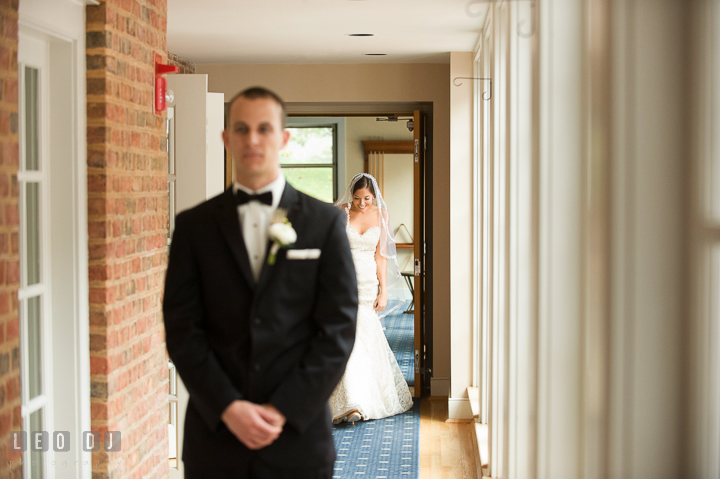 Bride walking toward groom for first glance. Aspen Wye River Conference Centers wedding at Queenstown Maryland, by wedding photographers of Leo Dj Photography. http://leodjphoto.com