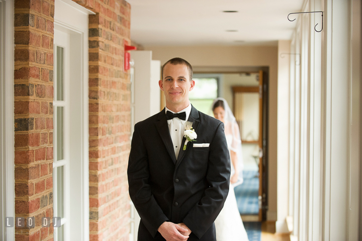 Groom waiting for Bride to come during first reveal. Aspen Wye River Conference Centers wedding at Queenstown Maryland, by wedding photographers of Leo Dj Photography. http://leodjphoto.com