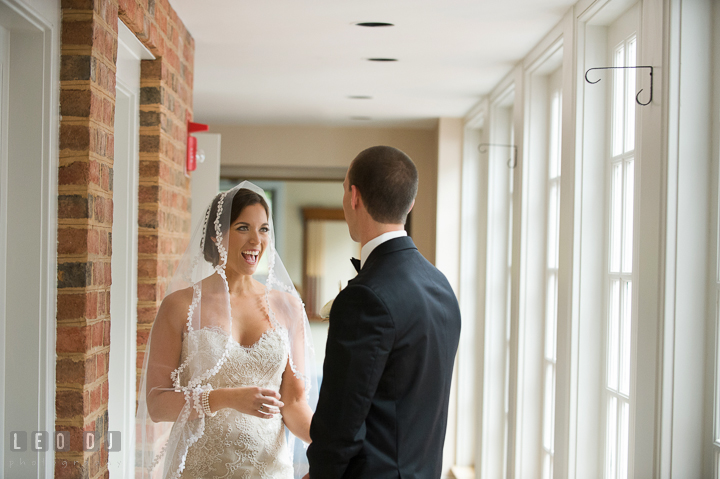 Bride and Groom sees each other for the first time in their wedding dress and outfit before the ceremony. Aspen Wye River Conference Centers wedding at Queenstown Maryland, by wedding photographers of Leo Dj Photography. http://leodjphoto.com