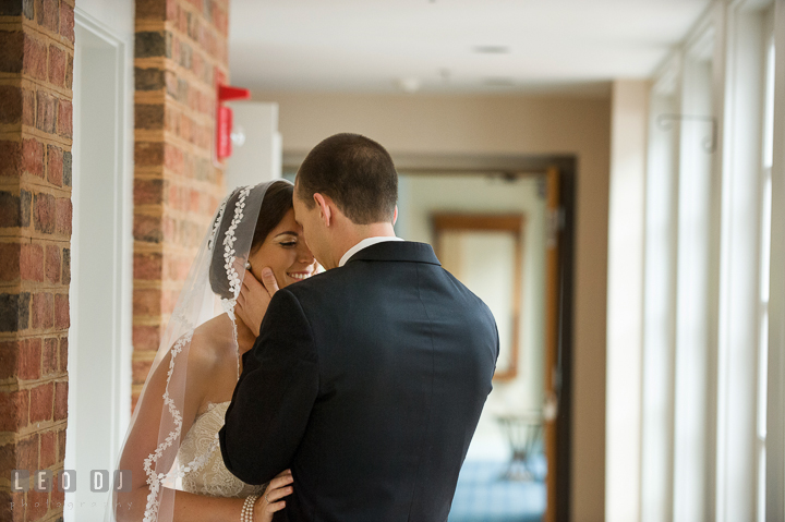 Bride and Groom hugged during their first glance. Aspen Wye River Conference Centers wedding at Queenstown Maryland, by wedding photographers of Leo Dj Photography. http://leodjphoto.com