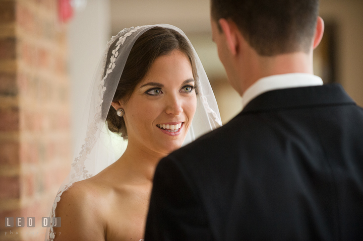 Bride happy to see groom in his tuxedo during first reveal. Aspen Wye River Conference Centers wedding at Queenstown Maryland, by wedding photographers of Leo Dj Photography. http://leodjphoto.com